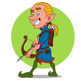 Elf with bow. Elf with bow and arrow. Vector illustration Stock Photo