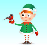 Elf with bullfinch Royalty Free Stock Photography