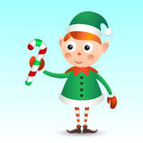 Elf with candy cane Stock Photo