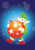 Elf carrying bauble 2 Royalty Free Stock Images