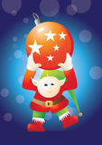 Elf carrying bauble1 Royalty Free Stock Images