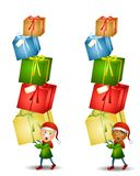 Elf Carrying Christmas Gifts Royalty Free Stock Images