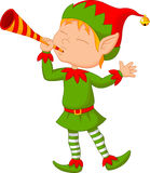 Elf cartoon blowing trumpet Stock Photos