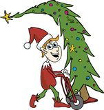Elf Carying A Tree. Illustration of an elf carying a christmas tree on a two-wheel cart Royalty Free Stock Photography