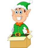 Elf che esce dal contenitore di regalo illustrazione vettoriale