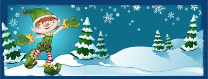 Elf Christmas Banner. With Winter Landscape Royalty Free Stock Photography