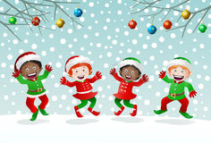 Elf on christmas. Illustration of a colored cartoon dwarf elf on christmas snow background Stock Photography