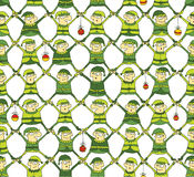 Elf Christmas Pattern in green version Royalty Free Stock Photos