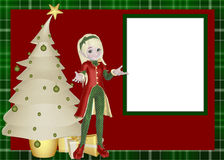 Elf Christmas Scrapbook Page. A cute holiday design with an elf, a white tree and presents. Add your photo or photos inside the white boxed area royalty free illustration