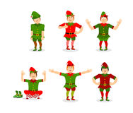Elf Christmas set poses. Various movements assistant of Santa Cl Royalty Free Stock Image