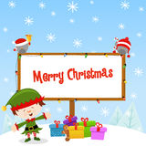 Elf With Christmas Sign Royalty Free Stock Images