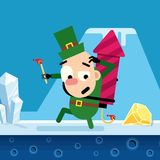 Elf Christmas song with a rocket in the winter location. Vector. Elf Christmas song with a rocket in the winter location. Vector illustration for a game Royalty Free Stock Image