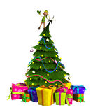 Elf On Christmas Tree. Cheeky Elf that is on top of a Christmas tree Royalty Free Stock Images