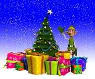 Elf And Christmas Tree With Snow. Elf that is by a Christmas tree and presents Stock Images