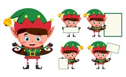 Elf christmas vector character set. Girl elves cartoon characters working. And holding blank white board for christmas greeting isolated in white background vector illustration