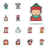 Elf colored icon. Christmas avatars icons universal set for web and mobile vector illustration