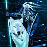 Elf con il lupo bianco Fotografia Stock Libera da Diritti