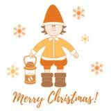 Elf con una lanterna ed i fiocchi di neve illustrazione vettoriale