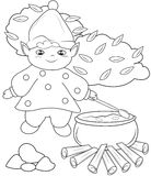 Elf cooking coloring page Royalty Free Stock Photography