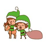 Elf couple with reindeer avatar character. Vector illustration design vector illustration