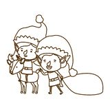 Elf couple with reindeer avatar character. Vector illustration design stock illustration