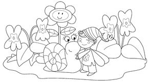 Elf with cute snail. Among violets and grass. Coloring illustration for children Stock Image