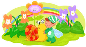 Elf with cute snail and flowers. Elf with cute snail among violets and grass. Illustration for children Stock Image