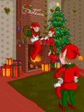 Elf decorating fireplace in Merry Christmas holiday background. Vector illustration Stock Photos
