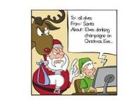 Elf die een e-mail voor Kerstman schrijven vector illustratie