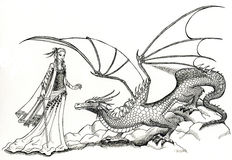 Elf and Dragon. A black and white drawing of a beautiful elven lady and a friendly dragon. This artwork was created manually with ink on illustration board. No Royalty Free Stock Image