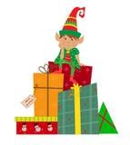 Elf e presente Immagini Stock