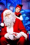 Elf en santa Royalty-vrije Stock Afbeelding