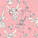 Elf   engelen met harten en bloemen in Jugendstilstijl vector illustratie