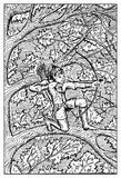 Elf. Engraved fantasy illustration. Elf with bow and arrows on tree in forest. Fantasy magic creatures collection. Hand drawn vector illustration. Engraved line Stock Image