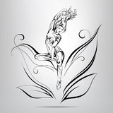 Elf with fabulous hair of twigs. illustration stock illustration