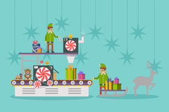 Elf factory or elves workshop, toy production line Royalty Free Stock Images