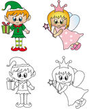 Elf and fairy. Illustration of elf and fairy isolated Royalty Free Stock Images
