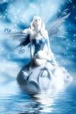 Elf fairy. Beautiful elf fairy over blue background stock image