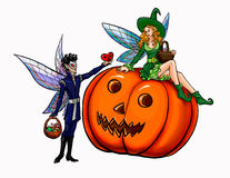 Elf or fairy make a present heart to girl on pumpkin Royalty Free Stock Image