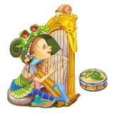 Elf from the fairy tale plays a harp. Stock Photos