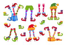 Elf feet. Elves foot in shoes and hat. Christmas dwarf leg in pants with santa gifts isolated vector set. Elf boots, christmas striped leprechaun foot royalty free illustration