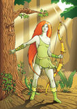 Elf female archer. A character from mythology and folklore legend, vector illustration Royalty Free Stock Photos