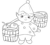 Elf fetching water coloring page Royalty Free Stock Images