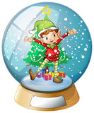 An elf in front of a christmas tree inside a snowball. Illustration of an elf in front of a christmas tree inside a snowball on a white background Royalty Free Stock Image
