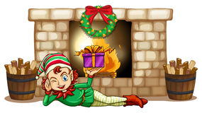 An elf in front of the fireplace. Illustration of an elf in front of the fireplace on a white background Royalty Free Stock Photo