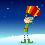 Elf with Gift Box Royalty Free Stock Photography