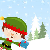 Elf With Gift Stock Images