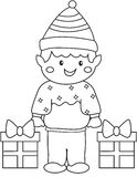 Elf with gifts coloring page Royalty Free Stock Photos