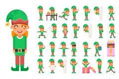 Elf Girl Christmas Santa Claus Helper in Different Poses and Actions Teen Characters Icons Set New Year Gift Holiday Royalty Free Stock Photos