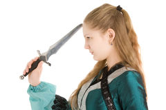 Elf girl with knife Royalty Free Stock Photography